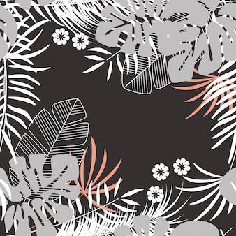 Patrón tropical transparente de verano con hojas de palma monstera y plantas sobre fondo oscuro