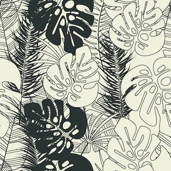Patrón tropical transparente de verano con hojas de palma monstera y plantas sobre fondo de vainilla