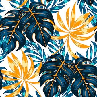 Patrón tropical transparente de verano con hojas y plantas brillantes