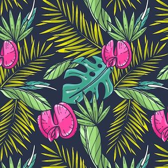 Patron tropical de verano dibujado a mano