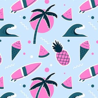 Patrón tropical de verano de dibujos animados