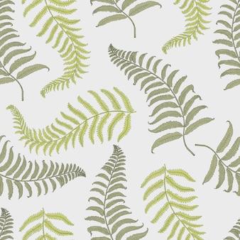 Patrón tropical vintage de seamles con hojas, dibujado a mano o enriquecido. hojas y plantas de aspecto vintage