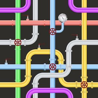 Patrón de tubería industrial abstracto sin fisuras
