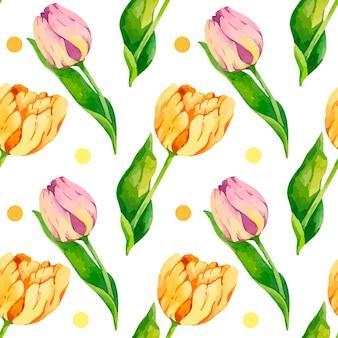 Patrón de tulipán acuarela con puntos amarillos