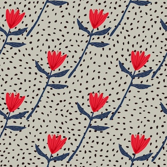 Patrón de tulipán floral transparente en colores rojo y azul marino. fondo gris con puntos. diseño simple.