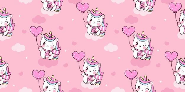Patrón de unicornio sin costuras con animal de kawaii de globo de amor