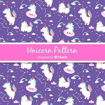 Patrón unicornio estilo dibujado a mano