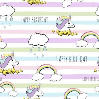 Patrón de unicornio feliz cumpleaños sin fisuras