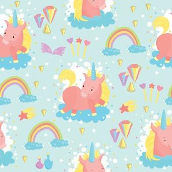 Patrón de unicornios y arcoiris