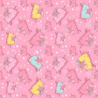 Patrón de unicornios colorido