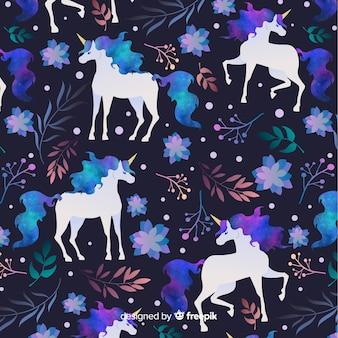 Patrón unicornios plano