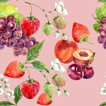 Patrón con uva, fresa y cereza, plantilla de ilustración de fondo rosa transparente