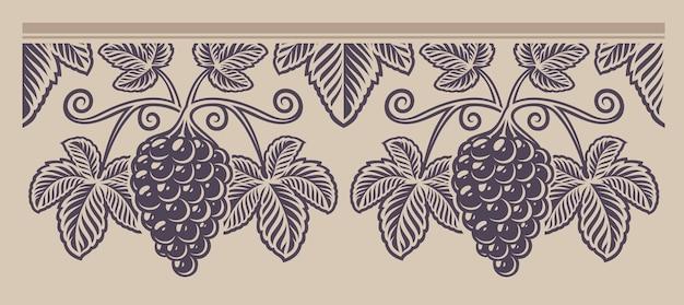 Patrón de uva rama transparente vintage, una decoración para el tema del vino en el fondo claro