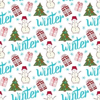 Patrón de vacaciones de invierno. lindo año nuevo de patrones sin fisuras con muñeco de nieve, árbol y regalos.