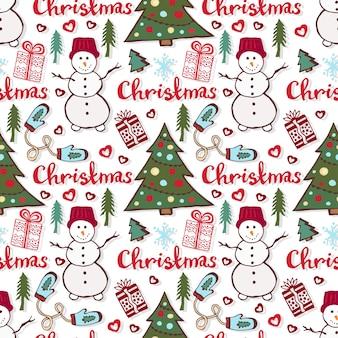 Patrón de vacaciones de navidad. lindo patrón transparente con muñeco de nieve, árbol de año nuevo y regalos