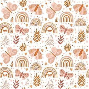 Patrón de vector con arco iris de mariposa en un estilo encantador en el patrón de boho de fondo beige
