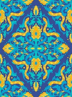 Patrón de vector azul con serpientes.