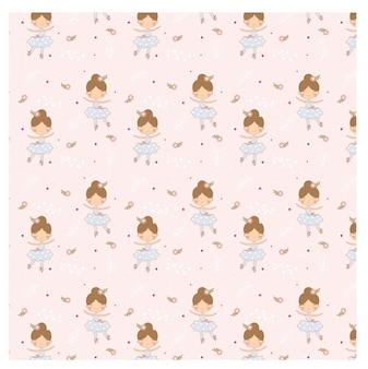 Patrón de vector de bailarina en fondo rosa