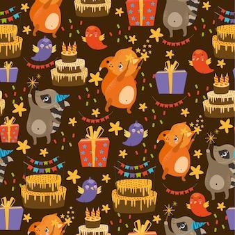 Patrón de vector con cumpleaños de animales