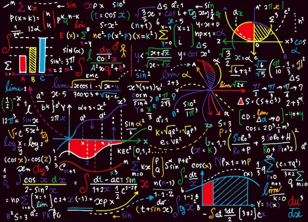 Patrón de vector de educación matemática con fórmulas escritas a mano