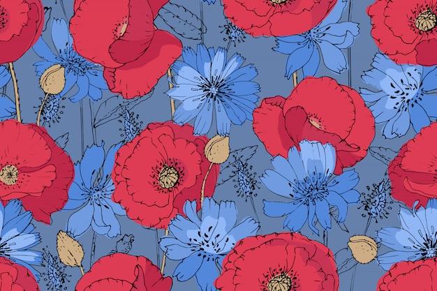 Patrón de vector floral de arte. amapolas rojas y achicoria azul (succory) con brotes de color beige sobre fondo azul.