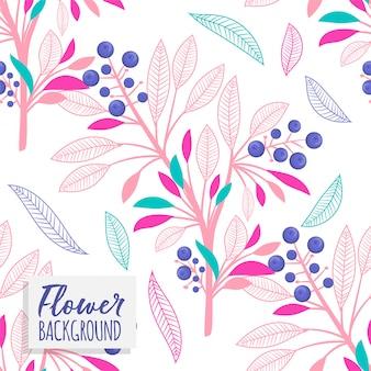 Patrón de vector floral ramo con flores y hojas