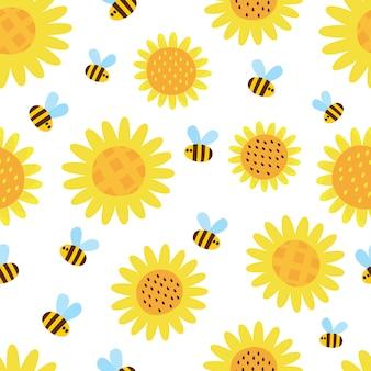 Patrón de vector con girasoles y abejas voladoras de dibujos animados