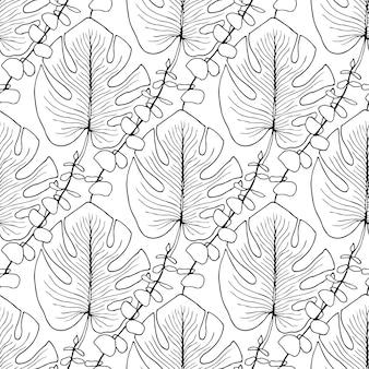 Patrón de vector de hojas tropicales. patrón transparente de vector para página de libro de colorear para adultos o diseño de impresión de verano interior