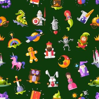 Patrón de vector iconos y elementos mágicos de cuentos de hadas modernos