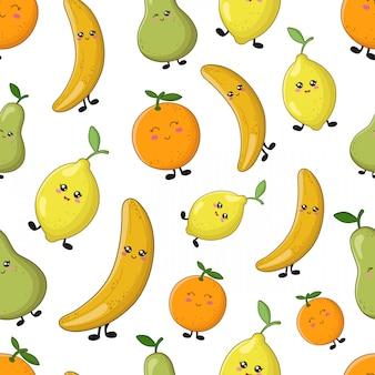 Patrón de vector inconsútil - dibujos animados kawaii limón, naranja, plátano