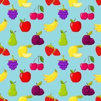 Patrón de vector inconsútil con frutas y bayas