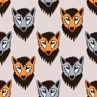Patrón de vector inconsútil con lobo y zorro. personajes de caricatura