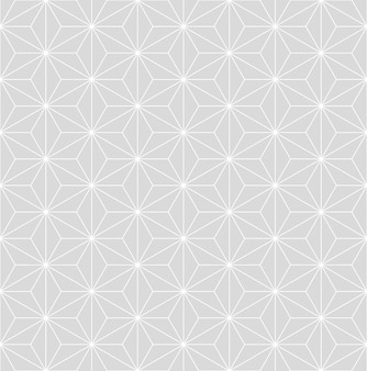 Patrón de vector isométrico de asanoha japonés gris sutil vintage transparente