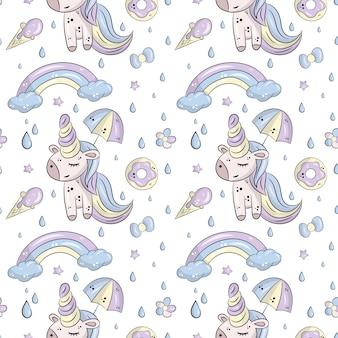 Patrón de vector con lindos unicornios