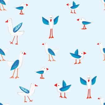 Patrón de vector de pájaro lindo