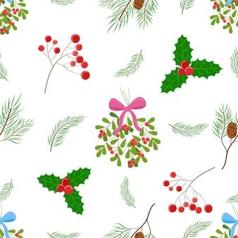 Patrón de vector de plantas de navidad elementos de decoración floral fondo blanco telón de fondo de vacaciones sin costuras