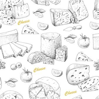 Patrón de vector con productos de queso.