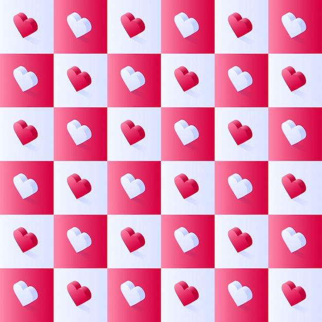 Patrón de vector stock isométrico sin costura, corazones geométricos de color rosa plano en bloques cuadrados escalonados