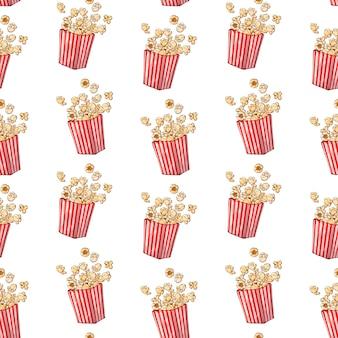 Patrón de vector en el tema de comida rápida: caja de palomitas de maíz.