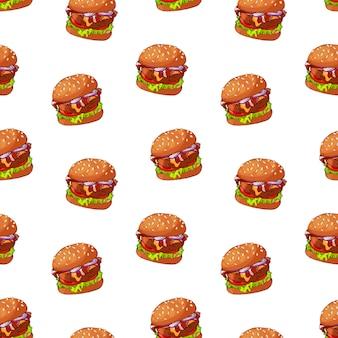 Patrón de vector en el tema de comida rápida: hamburguesa.