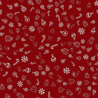 Patrón de vector transparente de año nuevo con adorno de navidad, santa claus, copo de nieve, bastón de caramelo, zorro en una bufanda, árbol, regalos sobre fondo rojo para impresión textil, papel tapiz, scrapbooking, diseño web