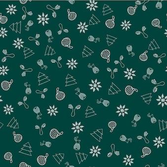 Patrón de vector transparente de año nuevo con guantes, adorno de navidad, copo de nieve, conejo, árbol sobre fondo verde para impresión textil, papel tapiz, scrapbooking, diseño web