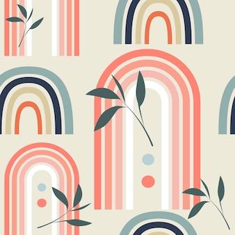 Patrón de vector transparente con arco iris abstracto multicolor y hojas en estilo boho en backg beige