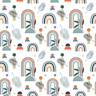 Patrón de vector transparente con arco iris abstracto multicolor y hojas sobre fondo blanco.