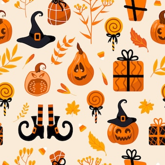 Patrón de vector transparente brillante de halloween. calabaza jack-o-lantern, sombrero de bruja, medias de rayas, zapatos, piruleta, regalos, hojas de otoño. para guardería, papel tapiz, impresión en tela, envoltura, fondo.
