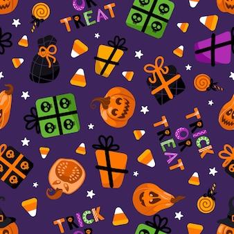 Patrón de vector transparente brillante de halloween calabaza linterna sombrero de bruja piruletas regalos maíz dulce