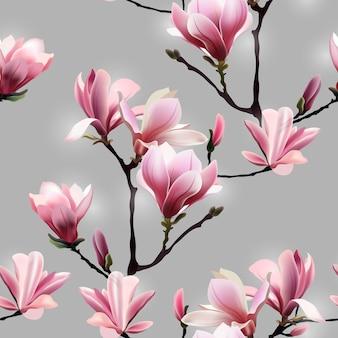 Patrón de vector transparente con brunch de flor de magnolia.