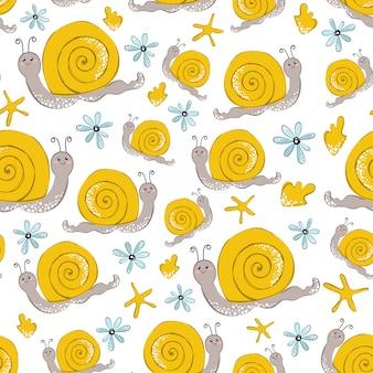 Patrón de vector transparente con caracol amarillo de dibujos animados en blanco