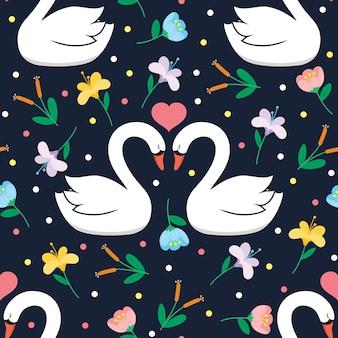 Patrón de vector transparente cisne y flor