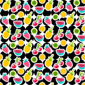 Patrón de vector transparente de color de frutas. doodle pegatinas de cereza, fresa, piña en círculos
